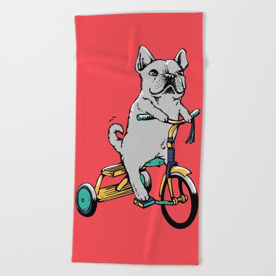 Frenchie Ride Beach Towel