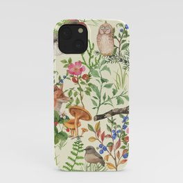 Hand drawn seamless pattern with watercolor forest animals and plants. Pattern for kids, wood inhabitants, cute animals iPhone Case