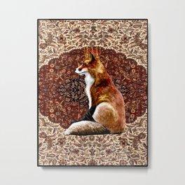 The Fox King - Persian Carpet Metal Print