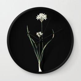 Vintage Three-Cornered Leek Botanical Illustration on Black (Portrait) Wall Clock