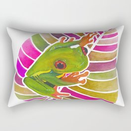 Frog On A Leaf Rectangular Pillow