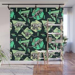 90's Dinosaur Skeleton Neon Pattern Wall Mural