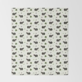Hippos and Flowers Throw Blanket