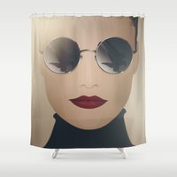ferrari Shower Curtains featuring Ferrari Girl by Seventy Two Studio
