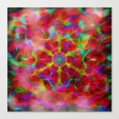 Vibrant kaleidoscope in red mist Canvas Print