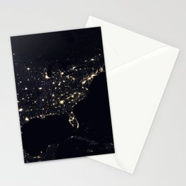 United States at Night Stationery Cards