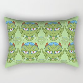 The happy red horn green demon Rectangular Pillow