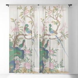 Minhwa: Birds and Royal azalea (Korean traditional/folk art) Sheer Curtain