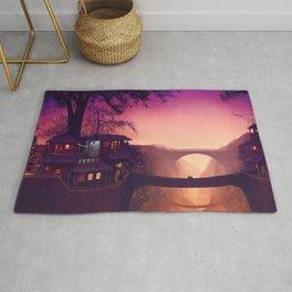 Romantic Couple On Bridge In Idyllic Little Town Above Valley Anime Purple Shade Ultra HD Rug