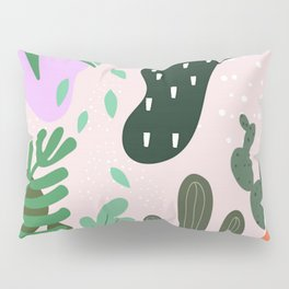 ABSTRACT PASTEL TROPICAL JUNGLE CACTUS PATTERN Pillow Sham