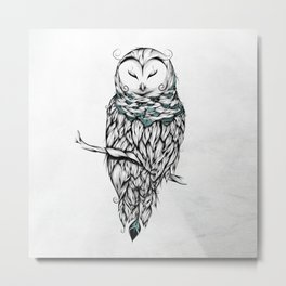 Poetic Snow Owl Metal Print