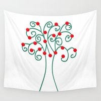 christmas tree Wall Tapestries featuring Christmas Tree by Pippi Dust