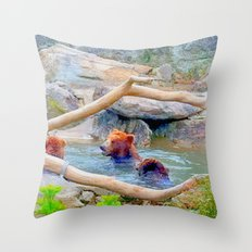 Wild Bears Throw Pillow