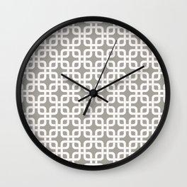 Mid-Century Modern Geometric Pattern, rounded corner squares interlocking Wall Clock