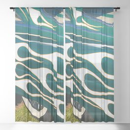 Classic Car Aflame with Flame Striping Sheer Curtain