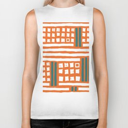 Orange white forest green geometrical stripes squares Biker Tank