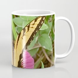 Yellow Butterfly lands on a Pink Coneflower in the Garden Digital Photography Custom Art Coffee Mug