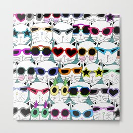 Sunglasses Cats Travel Metal Print