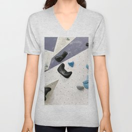 Geometric abstract free climbing bouldering holds black blue men Unisex V-Neck