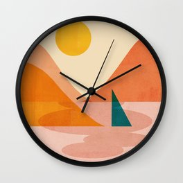 Abstraction_Lake_Sunset Wall Clock