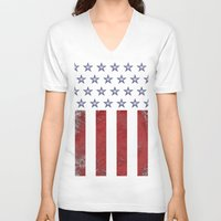 american flag V-neck T-shirts featuring American Flag by Nicko-Suave
