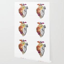 Flower Heart Spring White Wallpaper