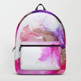 Alcohol Ink Pink and Gold Abstract Backpack