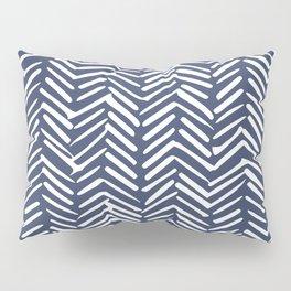 Boho Herringbone Pattern, Navy Blue and White Pillow Sham