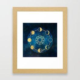 Gold Moon Phases Sun Stars Night Sky Navy Blue Framed Art Print