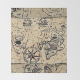 Old Nautical Map Throw Blanket