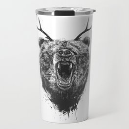 Angry bear with antlers Travel Mug