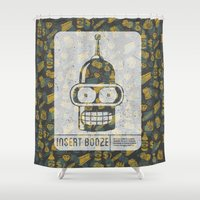 bender Shower Curtains featuring Insert Booze by Josh Ln