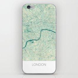 London Map Blue Vintage iPhone Skin