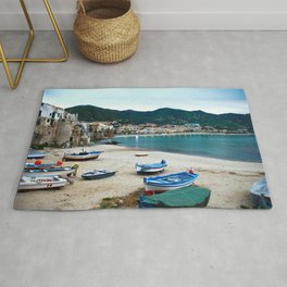 Boats on Beach at Cefalu Italy Rug
