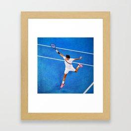 Flying Federer Tennis Backhand Framed Art Print