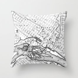 Vintage Map of Richmond Virginia (1884) BW Throw Pillow