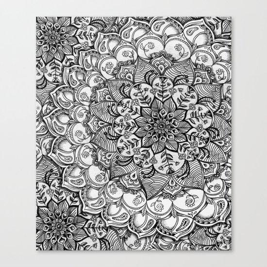 Shades of Grey - mono floral doodle Canvas Print
