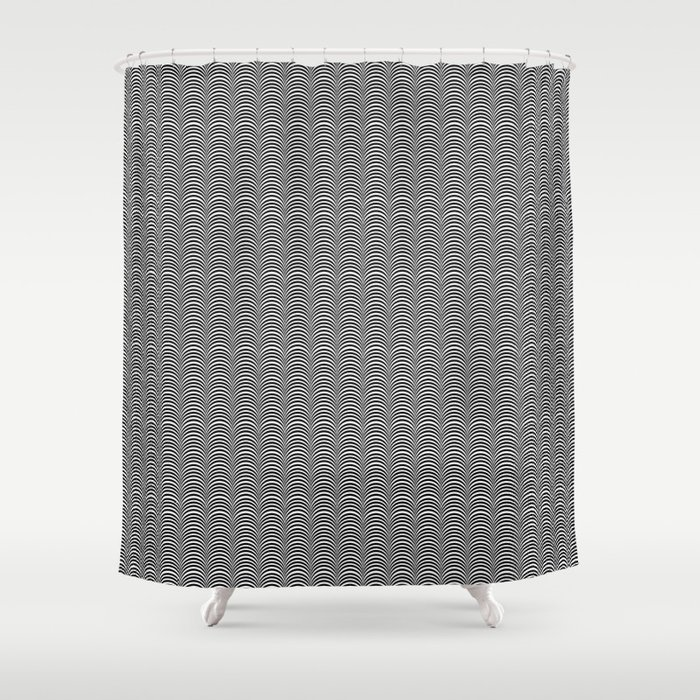 Black and White Scallop Line Pattern Digital Graphic Design Shower Curtain