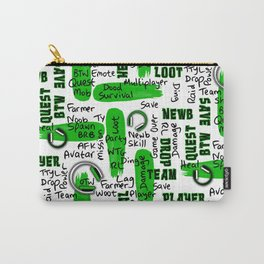 Gamer Lingo-White and Green Carry-All Pouch