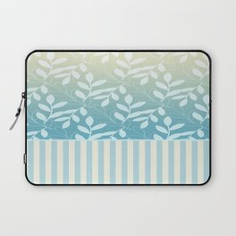 Blue Plume Leaves and Stripes Laptop Sleeve