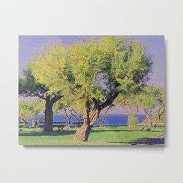 Tamarisk Trees Overlooking the Ocean Metal Print