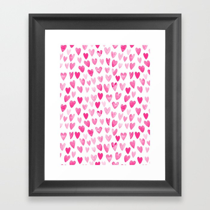 Hearts Pattern watercolor pink heart perfect essential valentines day gift idea for her Gerahmter Kunstdruck