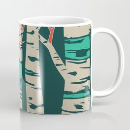 Whimsical birch forest landscape wall art Coffee Mug
