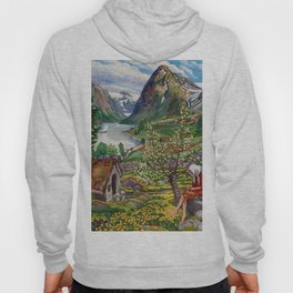 Alpine Lake Landscape, 'Girl, Springtime & Marigolds' by Nikolai Astrup Hoody