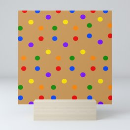 Playful Dots in Primary and Secondary Colors on ochre colored background Mini Art Print