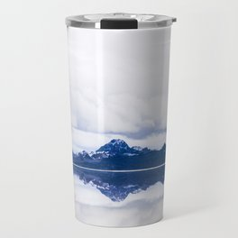 Navy blue Mountains Against Lake With Clouds Travel Mug