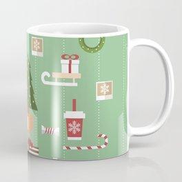 Christmas objects drawings on green bacgkround Coffee Mug
