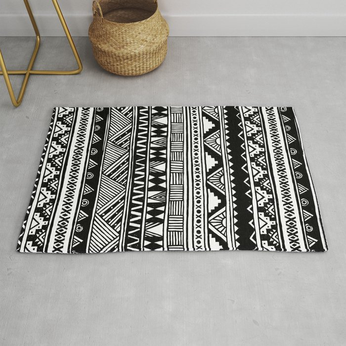 Black White Cute Girly Urban Tribal Aztec Andes Abstract Geometric Hand Drawn Pattern Rug By Hyakume6