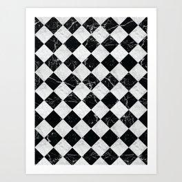 Cubic - Black & White Marble #895 Art Print
