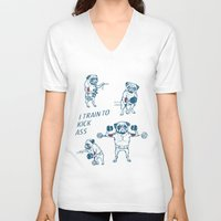 workout V-neck T-shirts featuring Pug Workout by Huebucket